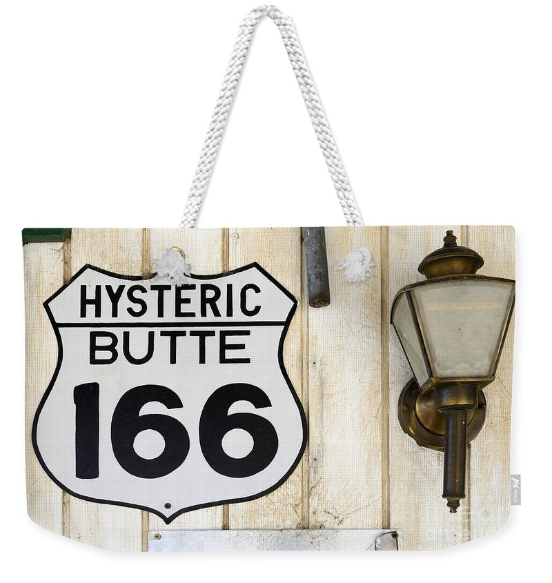Vintage Signs Weekender Tote Bag featuring the photograph Vintage Sign Hysteric Butte 166 by Bob Christopher