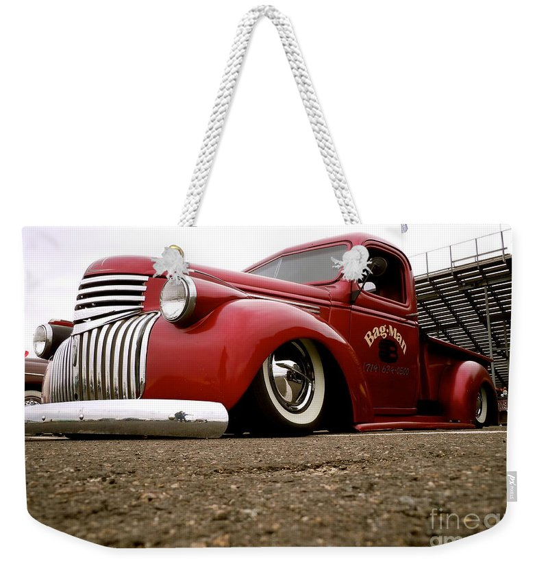 Vintage Weekender Tote Bag featuring the photograph Vintage Style Hot Rod Truck by Customikes Fun Photography and Film Aka K Mikael Wallin
