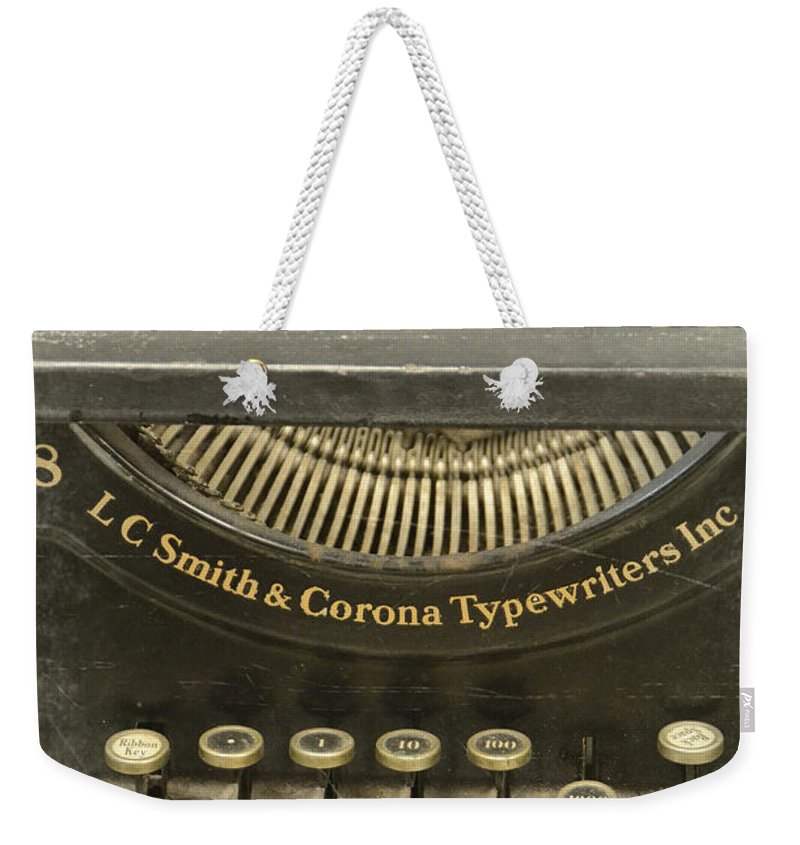 Type Weekender Tote Bag featuring the photograph Vintage Typewriter by Jill Battaglia