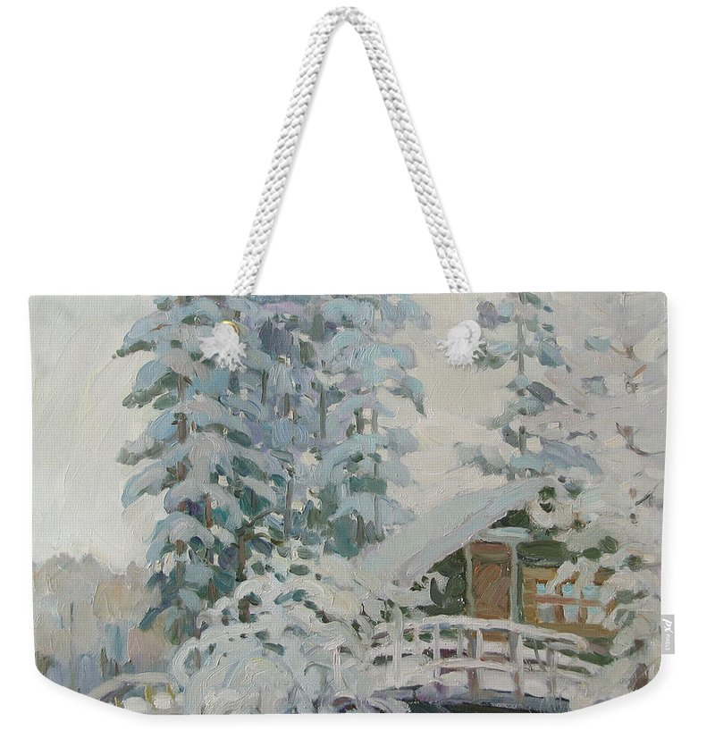 Winter Weekender Tote Bag featuring the painting Visiting Fairy Tales by Juliya Zhukova