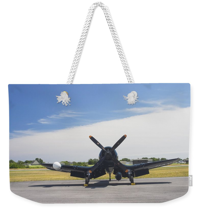 Vought F4u Corsair Weekender Tote Bag featuring the photograph Vought F4u Corsair Fighter Plane On Runway Canvas Photo Poster Print by Keith Webber Jr