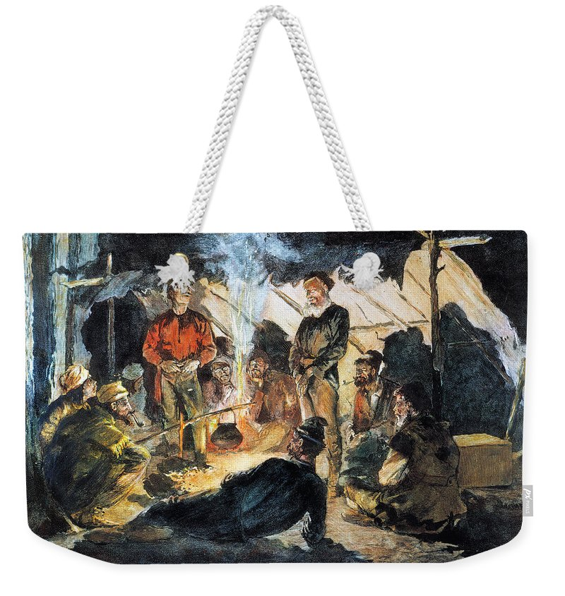 19th Century Weekender Tote Bag featuring the photograph Voyageurs by Granger