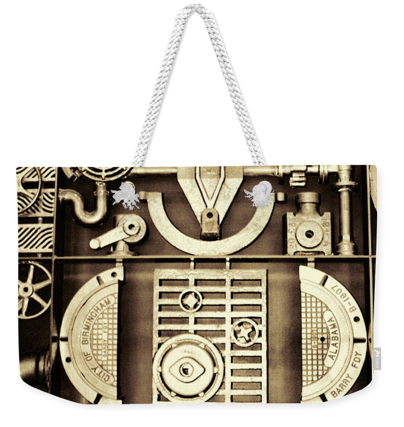Vulcan Weekender Tote Bag featuring the photograph Vulcan Steel Steampunk by Kathy Clark