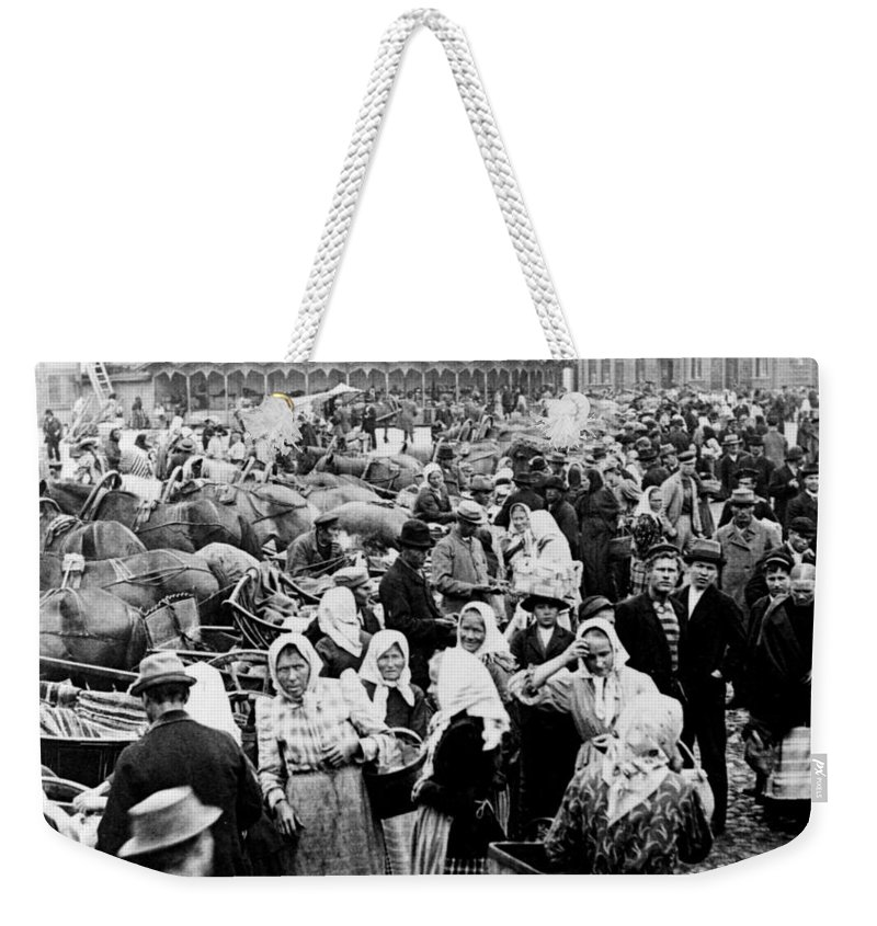 Vyborg Weekender Tote Bag featuring the photograph Vyborg Market Place C 1897 by International Images