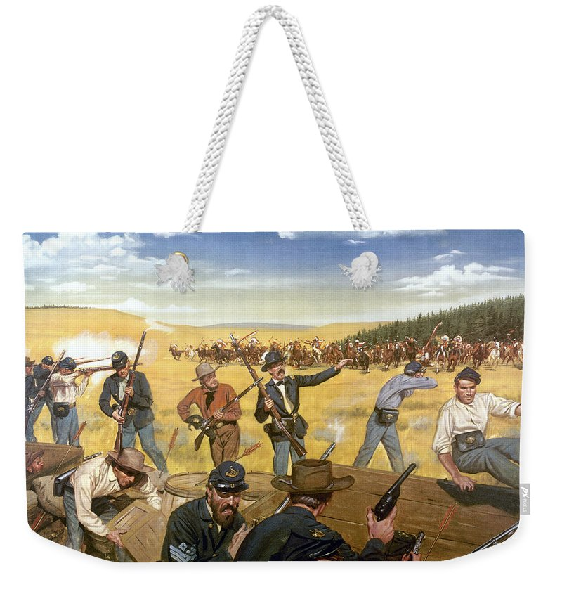 1867 Weekender Tote Bag featuring the photograph Wagon Box Fight, 1867 by Granger
