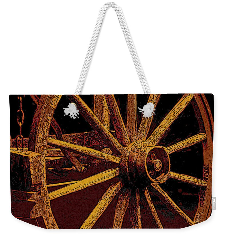 Wagon Wheels Weekender Tote Bag featuring the photograph Wagon Wheel In Sepia by Rich Walter