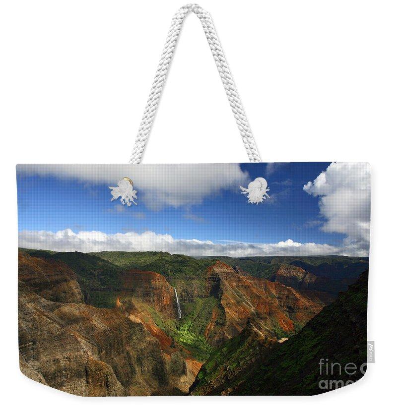 Waimea Weekender Tote Bag featuring the photograph Waimea Canyon Landscape by Mike Reid