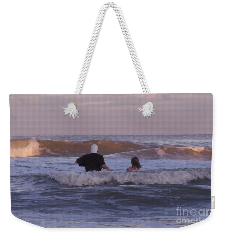 Human Weekender Tote Bag featuring the photograph Waiting For The Huge Wave by Donna Brown