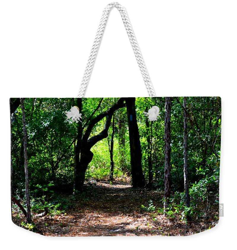 Ocala Weekender Tote Bag featuring the photograph Walk In The Woods by Kari Tedrick