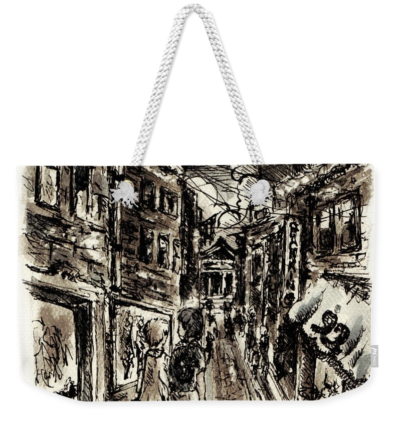 City Weekender Tote Bag featuring the painting Walkin In The City by William Russell Nowicki