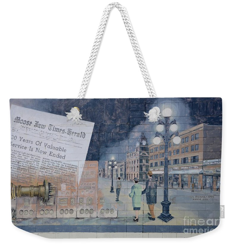 Mural Weekender Tote Bag featuring the photograph Wall Art Moose Jaw 2 by Bob Christopher