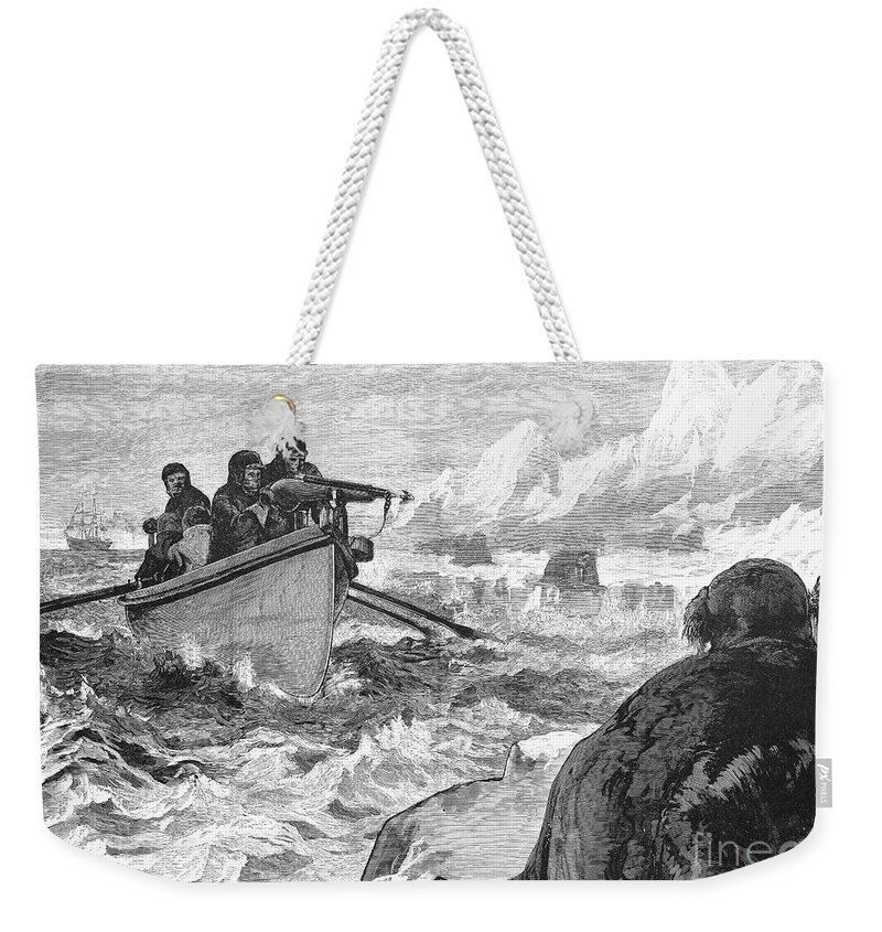 1875 Weekender Tote Bag featuring the photograph Walrus Hunt, 1875 by Granger