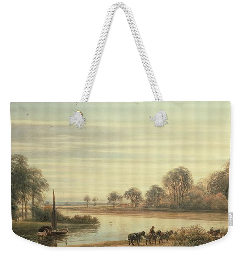 River Scene Weekender Tote Bag featuring the painting Walton On Thames by Peter de Wint