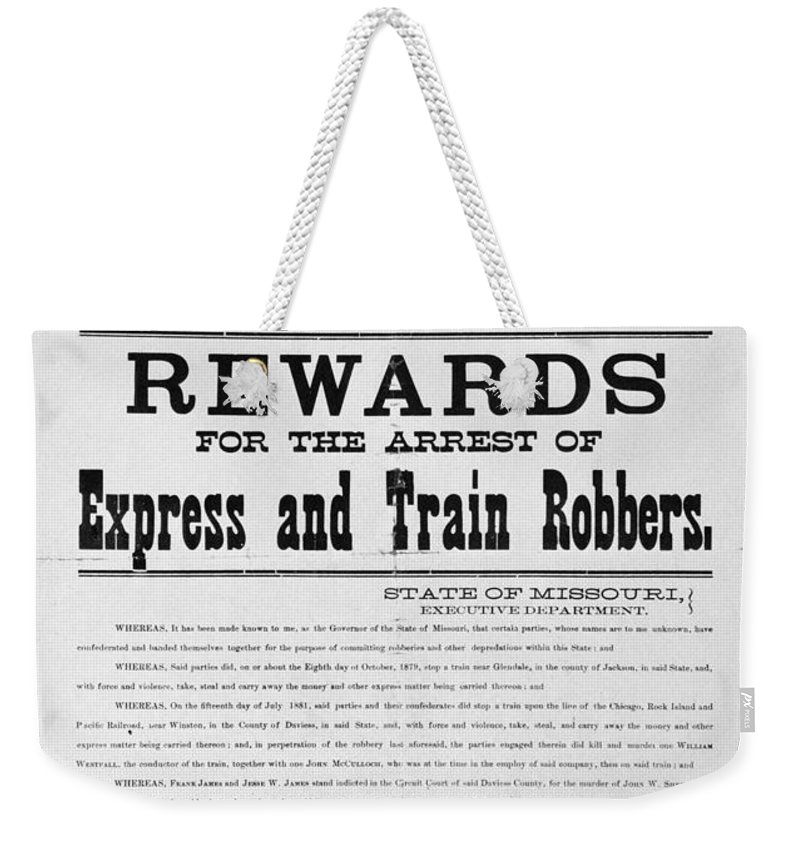 1881 Weekender Tote Bag featuring the photograph Wanted Poster, 1881 by Granger