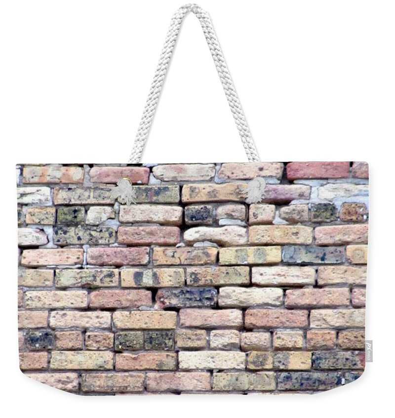 Milwaukee Weekender Tote Bag featuring the photograph Warehouse Brick Wall by Anita Burgermeister