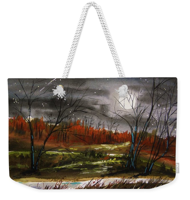 Original For Sale Weekender Tote Bag featuring the painting Warm Night And Meteor Shower by John Williams