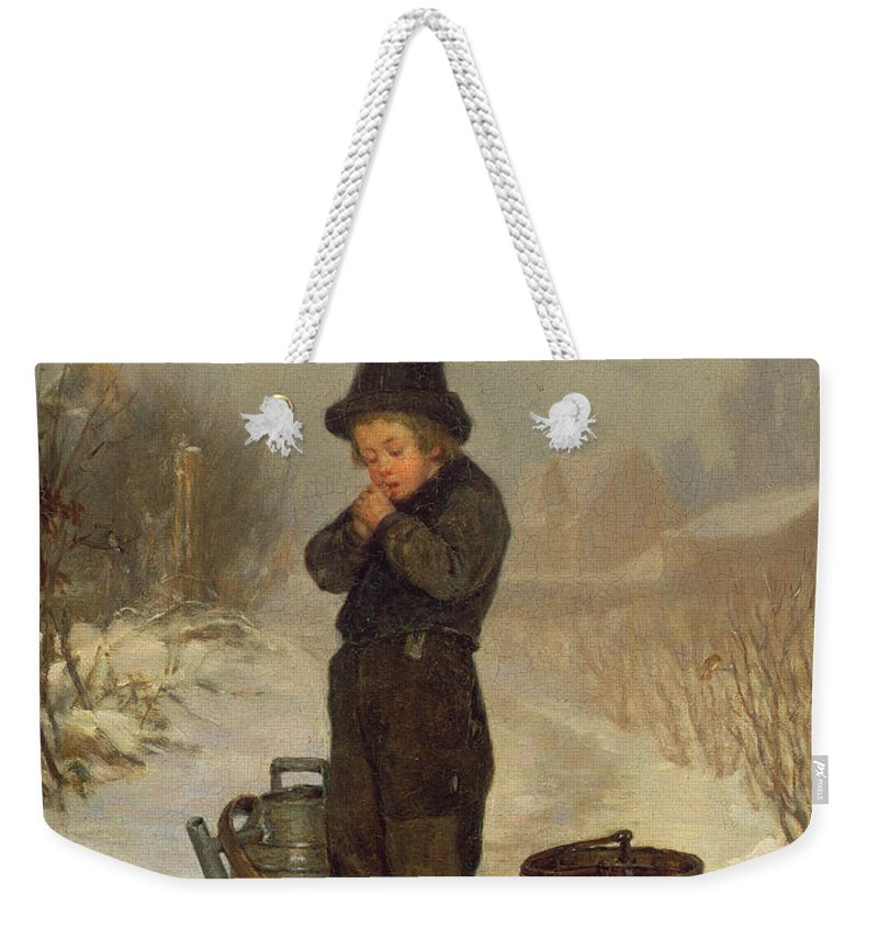 Child; Boy; Male; Snow; Cold; Snowy; Frozen; Buckets; Bucket; Pail; Pails; Winter; Landscape; Victorian; Collecting Water Weekender Tote Bag featuring the painting Warming His Hands by Henry Bacon