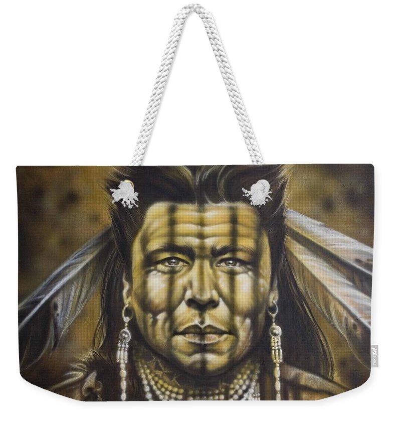 Native American Weekender Tote Bag featuring the painting Warpath by Timothy Scoggins