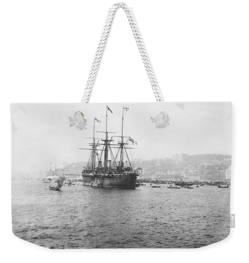 warship Kaiser Weekender Tote Bag featuring the photograph Warship Kaiser On Which Kaiser Wilhelm II Of Germany Came To Istanbul by International Images