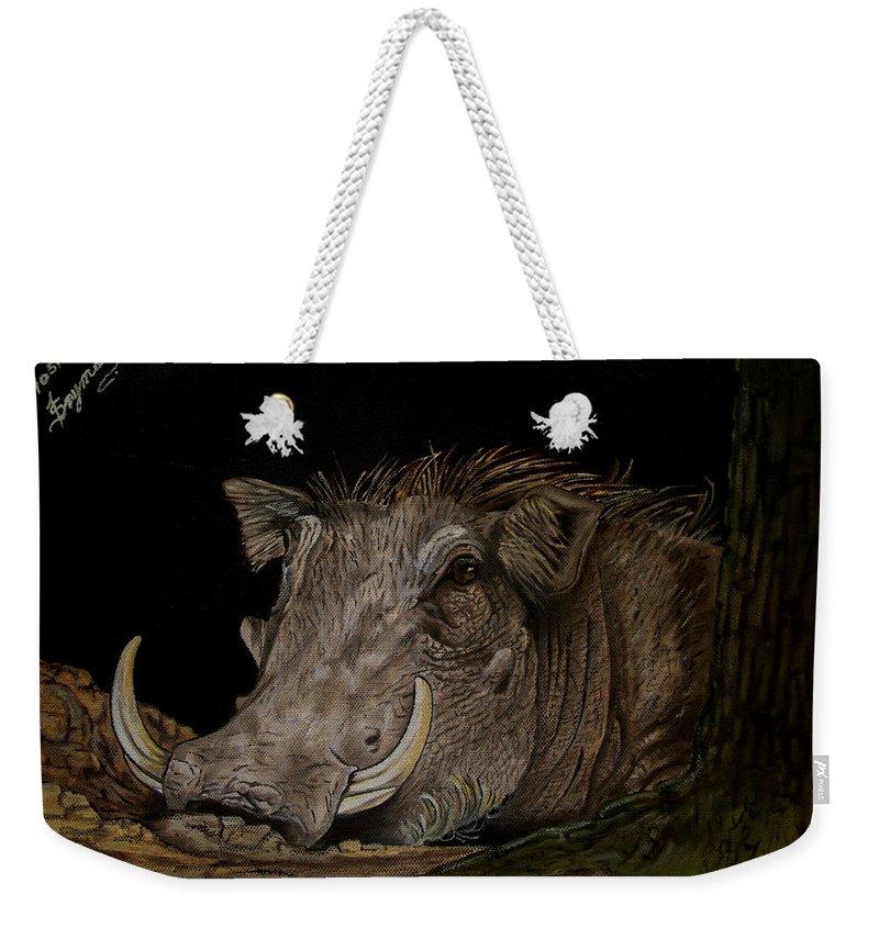 Warthog Weekender Tote Bag featuring the painting Warthog by Tracey Beer
