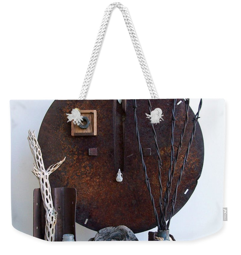 Assemblage Sculptures Weekender Tote Bag featuring the sculpture Warzawa by Snake Jagger