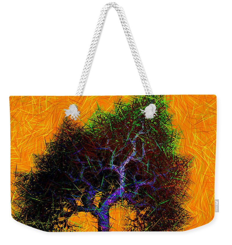 Tree Weekender Tote Bag featuring the digital art Was A Crooked Tree Grunge Art by Richard Ortolano