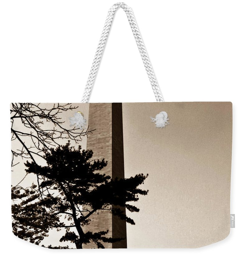 Washington Weekender Tote Bag featuring the photograph Washington Monument In Sepia by Douglas Barnett