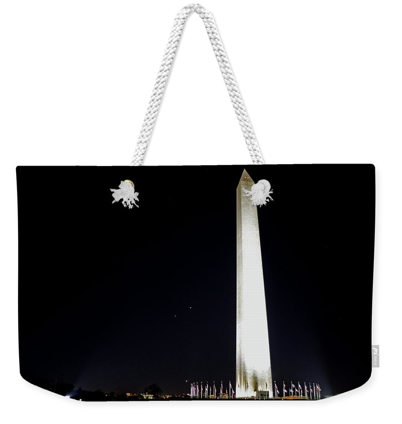 Washington Weekender Tote Bag featuring the photograph Washington Monument Night by La Dolce Vita