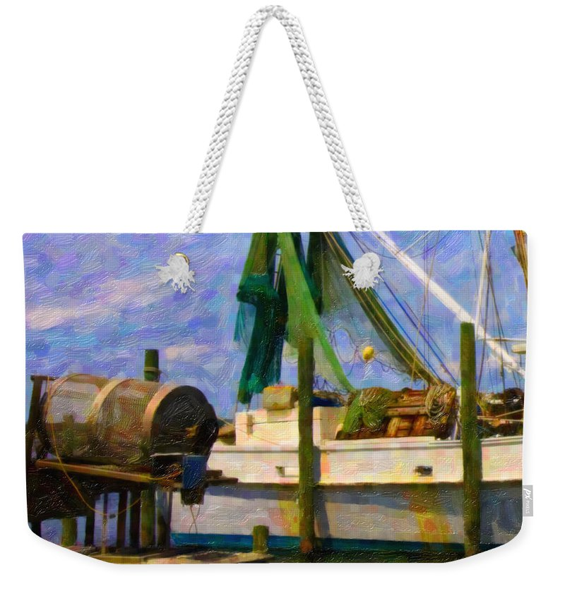 Ship Weekender Tote Bag featuring the digital art Watching Within a Frame by Betsy Knapp