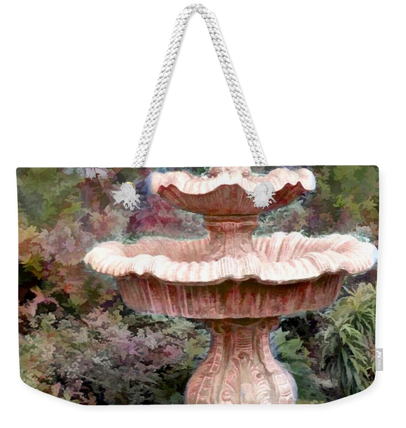 Weekender Tote Bag featuring the painting Water Fountain In The Forest by Elaine Plesser