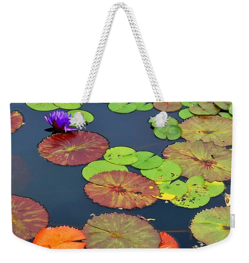 Garden Weekender Tote Bag featuring the photograph Water Lilies I by Nancy Mueller