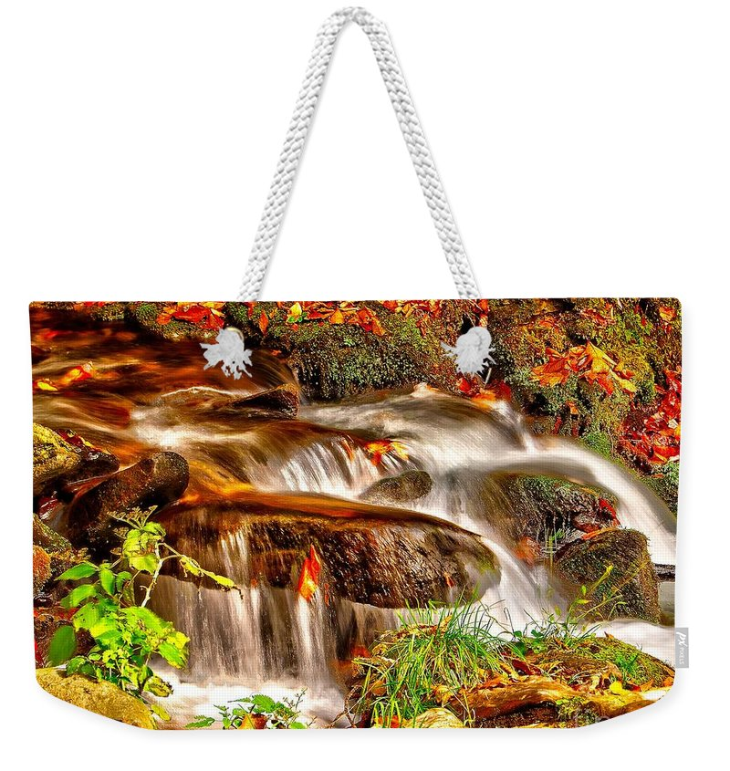Autumn Weekender Tote Bag featuring the photograph Water Over The Rocks by Nick Zelinsky