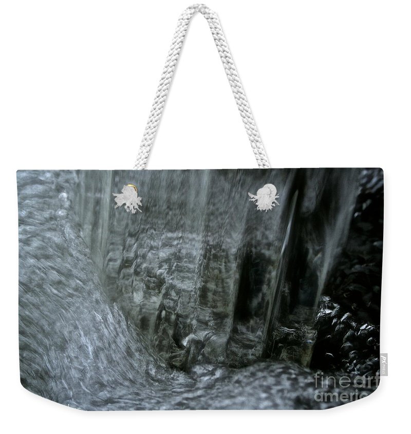 Outdoors Weekender Tote Bag featuring the photograph Water Wall And Whirling Bubbles by Susan Herber