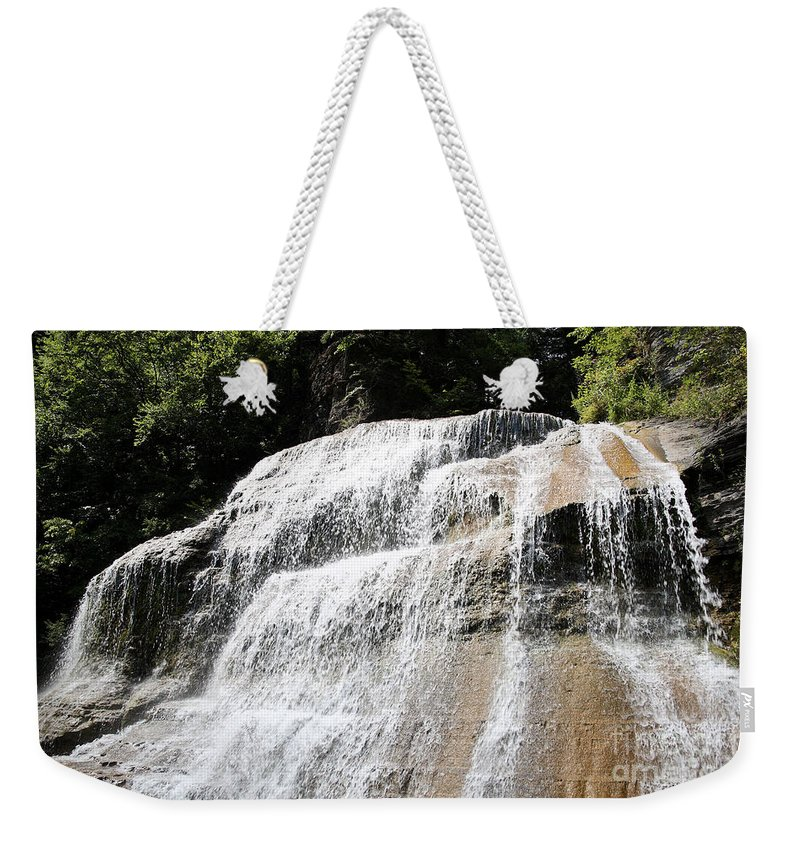 Treman Weekender Tote Bag featuring the photograph Waterfall At Treman State Park Ny by Ted Kinsman