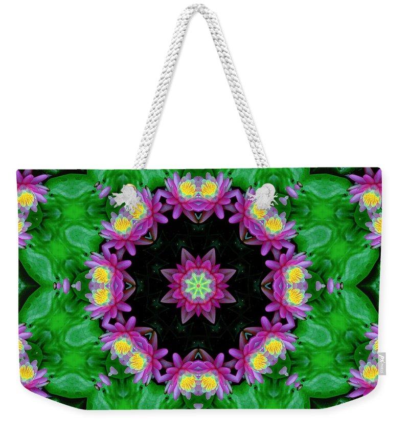 Waterlily Weekender Tote Bag featuring the digital art Waterlily Kaleidoscope by Lynne Jenkins
