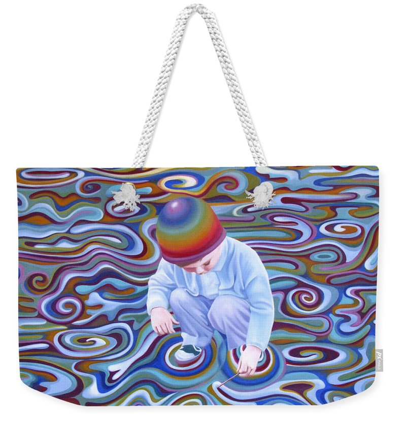 Boy Weekender Tote Bag featuring the painting Waves Of Dream by Pascal Roy
