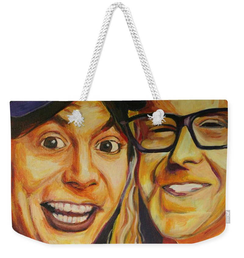 Wayne's World Weekender Tote Bag featuring the painting Wayne And Garth by Kate Fortin
