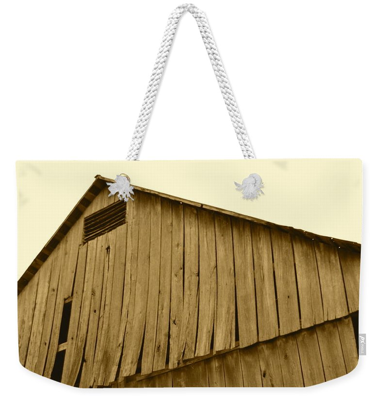 J.d. Grimes Weekender Tote Bag featuring the photograph Weathered Barn II In Sepia by JD Grimes