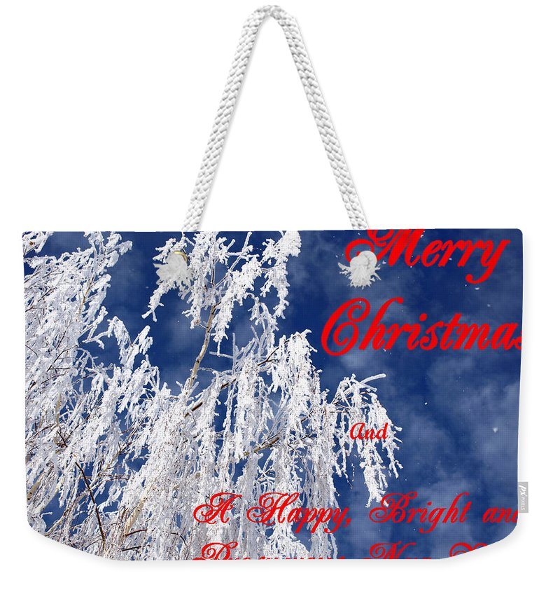 Christmas Weekender Tote Bag featuring the photograph Weeping Willow Christmas by DeeLon Merritt
