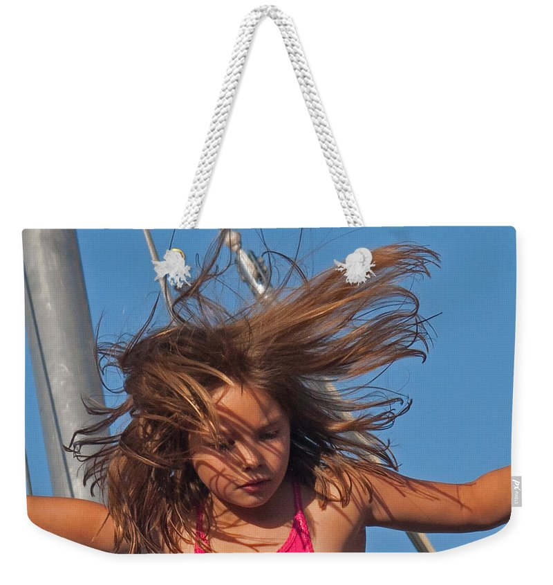 Girl Weekender Tote Bag featuring the photograph Weightless Hair by David Freuthal