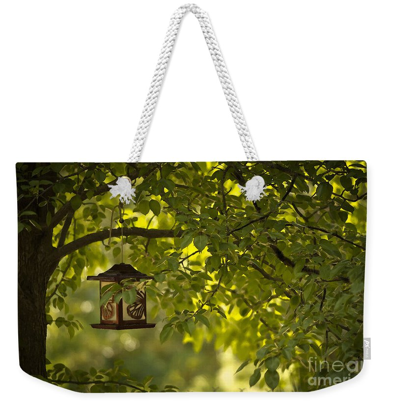 Trees Weekender Tote Bag featuring the mixed media Welcome Feather Friends by Kim Henderson