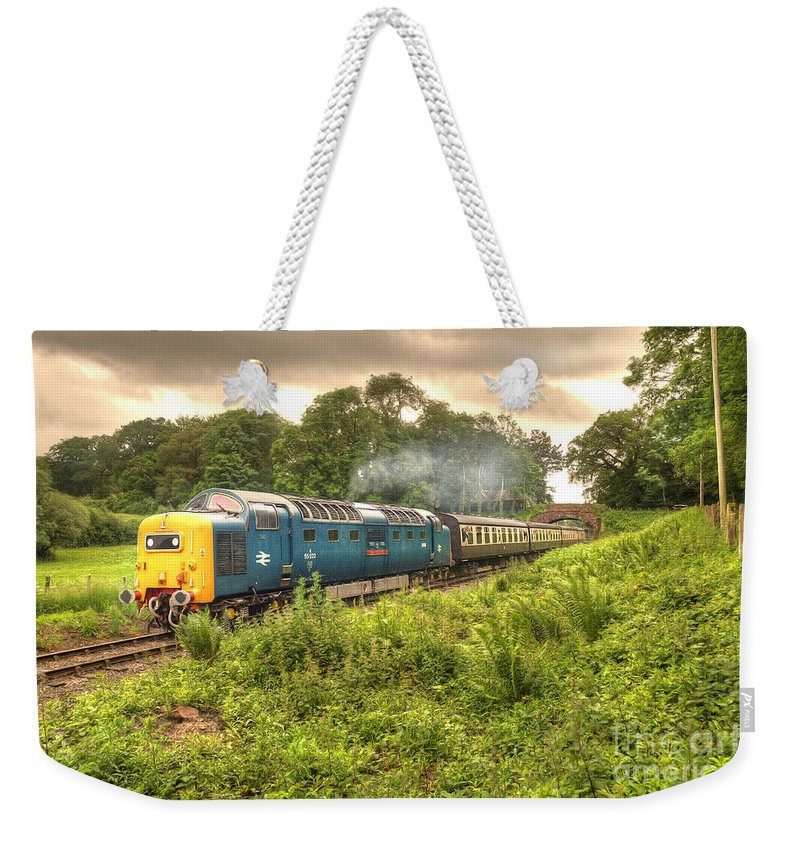Deltic Weekender Tote Bag featuring the photograph West Somerset Deltic by Rob Hawkins