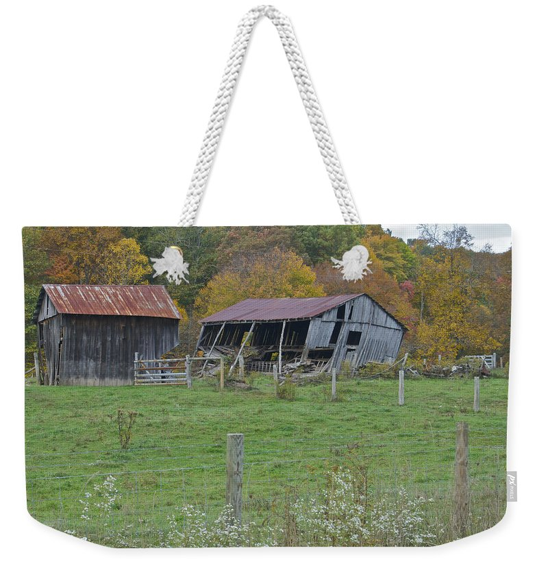 Countryside Weekender Tote Bag featuring the photograph West Virginia Barn 3211 by Michael Peychich