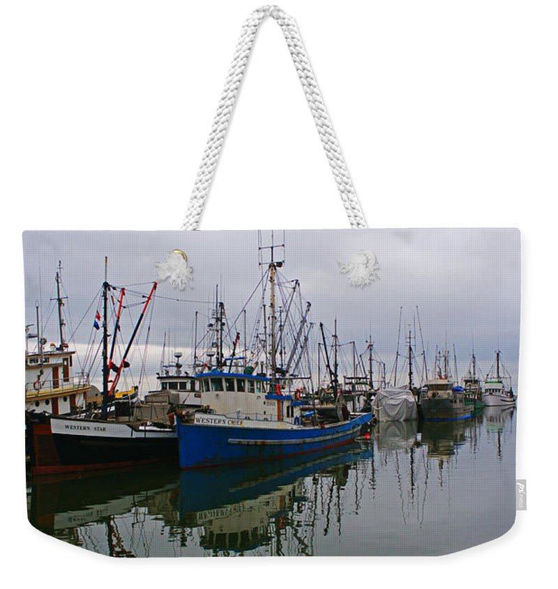 Fishing Boats Weekender Tote Bag featuring the photograph Western Chief Reflections by Randy Harris