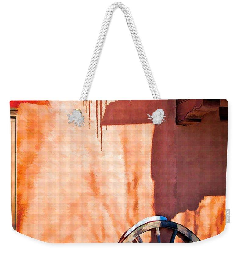 Wheel Weekender Tote Bag featuring the digital art Wheel And Ice by Charles Muhle