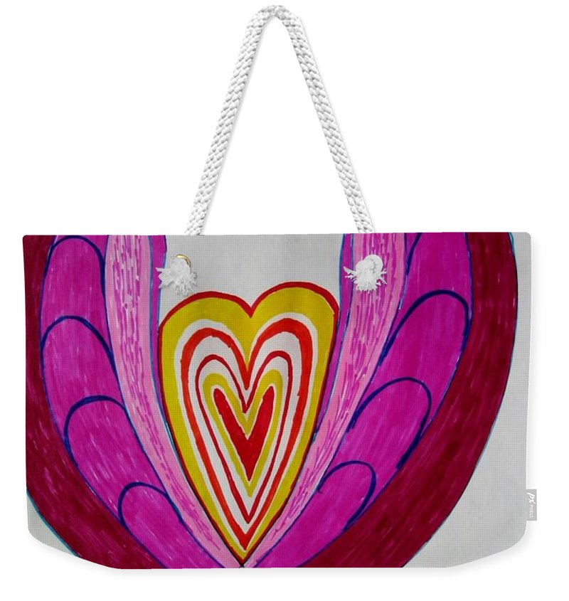 Heart Blooms Weekender Tote Bag featuring the drawing When Love Blooms.. by Sonali Gangane