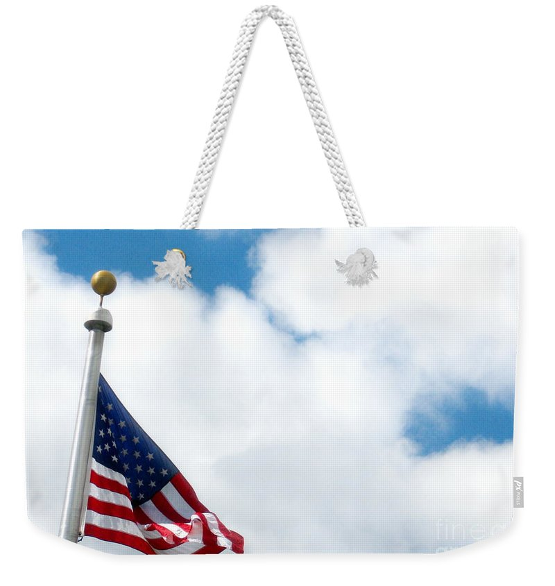 Flag Weekender Tote Bag featuring the photograph When Shall Truth Set Us Free? by Rory Sagner