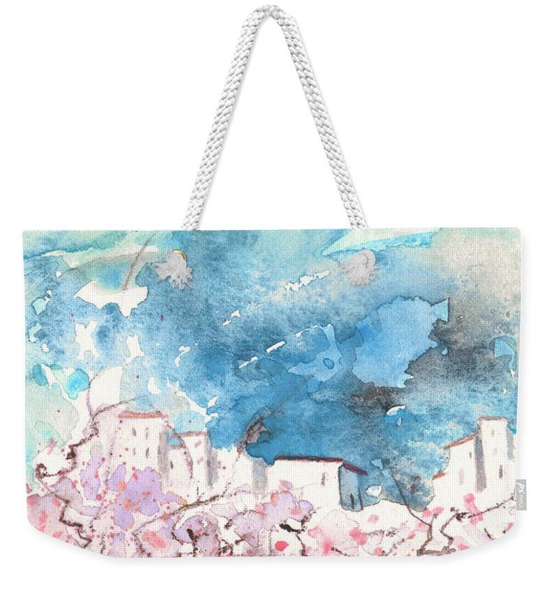 Travel Art Weekender Tote Bag featuring the painting When Trees Were Still Trees by Miki De Goodaboom
