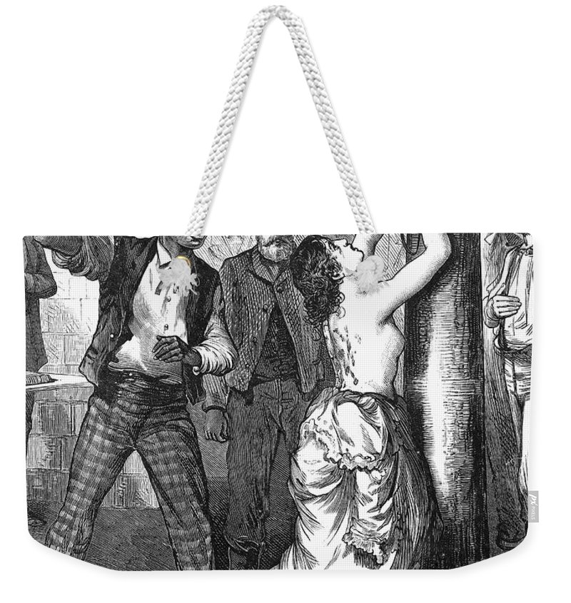 1878 Weekender Tote Bag featuring the photograph Whipping Post, 1878 - To License For Professional Use Visit Granger.com by Granger