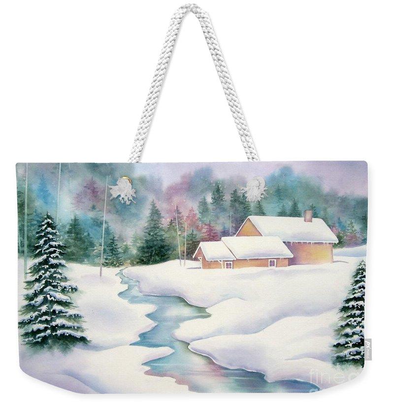 Winter Weekender Tote Bag featuring the painting Whispering Pines by Deborah Ronglien